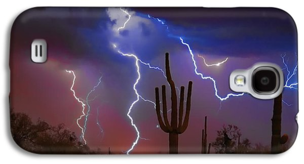 Southwest Landscape Galaxy S4 Cases - Saguaro Lightning Nature Fine Art Photograph Galaxy S4 Case by James BO  Insogna