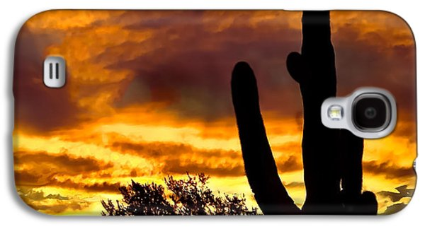 Haybale Photographs Galaxy S4 Cases - Saguaro Silhouette  Galaxy S4 Case by Robert Bales