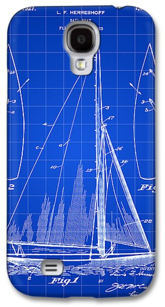 Aft Galaxy S4 Cases - Sail Boat Patent 1925 - Blue Galaxy S4 Case by Stephen Younts