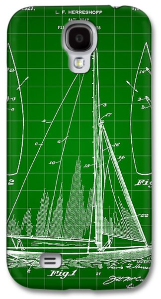 Aft Galaxy S4 Cases - Sail Boat Patent 1925 - Green Galaxy S4 Case by Stephen Younts
