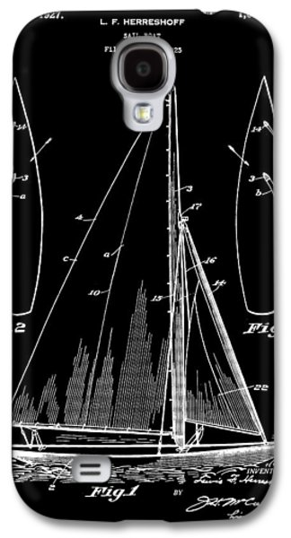Aft Galaxy S4 Cases - Sail Boat Patent 1925 - Black Galaxy S4 Case by Stephen Younts