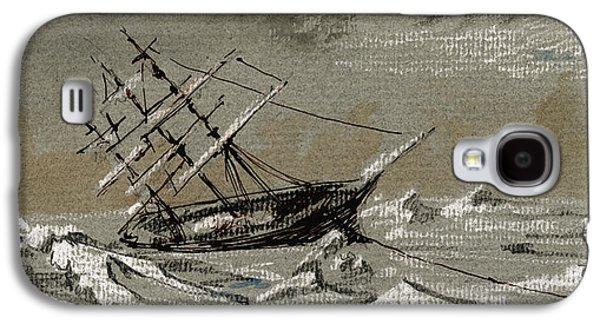 Frigates Paintings Galaxy S4 Cases - Sail ship arctic Galaxy S4 Case by Juan  Bosco