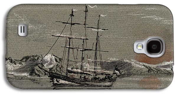 Frigates Paintings Galaxy S4 Cases - Sail ship at the arctic Galaxy S4 Case by Juan  Bosco
