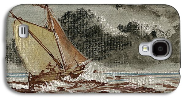 Frigates Paintings Galaxy S4 Cases - Sail ship stormy sea Galaxy S4 Case by Juan  Bosco