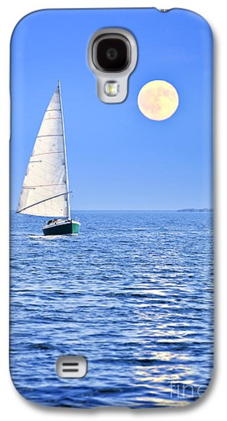 Sadness Galaxy S4 Cases - Sailboat at full moon Galaxy S4 Case by Elena Elisseeva