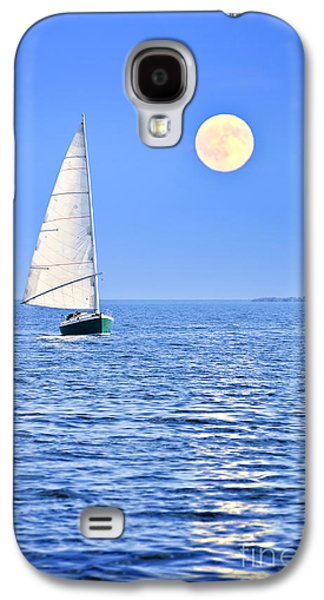 Blue Galaxy S4 Cases - Sailboat at full moon Galaxy S4 Case by Elena Elisseeva