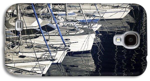 Sailboats Docked Galaxy S4 Cases - Sailboat Bow Galaxy S4 Case by John Rizzuto
