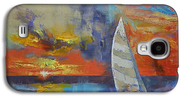 Sailboat Ocean Paintings Galaxy S4 Cases - Sailboat Galaxy S4 Case by Michael Creese