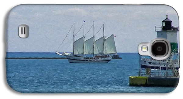 Landscape Posters Galaxy S4 Cases - sailboat on Lake Michigan Galaxy S4 Case by Chris Flees