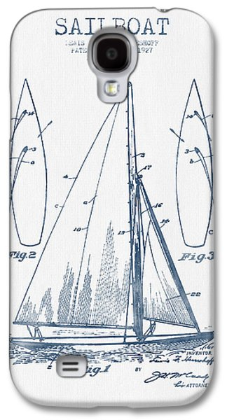 Sailboat Art Galaxy S4 Cases - Sailboat Patent Drawing From 1927  -  Blue Ink Galaxy S4 Case by Aged Pixel