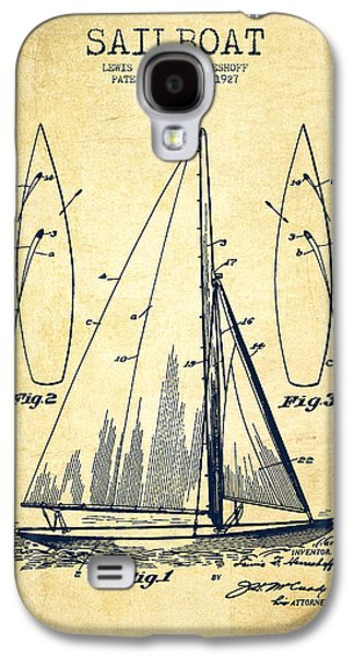 Sailboat Art Galaxy S4 Cases - Sailboat Patent Drawing From 1927 - Vintage Galaxy S4 Case by Aged Pixel