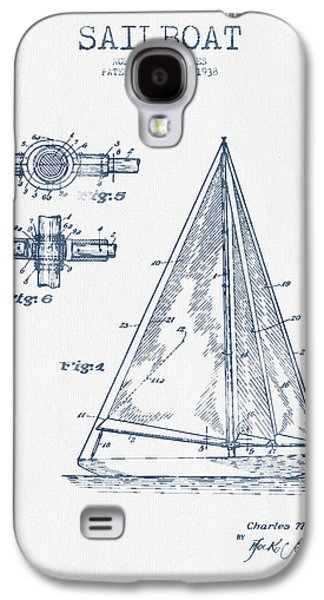 Sailboat Art Galaxy S4 Cases - Sailboat Patent Drawing From 1938  -  Blue Ink Galaxy S4 Case by Aged Pixel