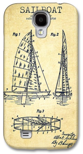 Sailboat Art Galaxy S4 Cases - Sailboat Patent Drawing From 1938 - Vintage Galaxy S4 Case by Aged Pixel