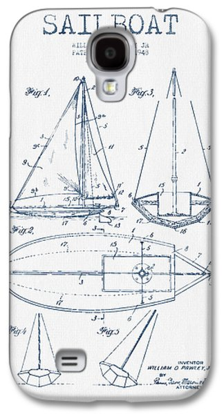 Sailboat Art Galaxy S4 Cases - Sailboat Patent Drawing From 1948  -  Blue Ink Galaxy S4 Case by Aged Pixel