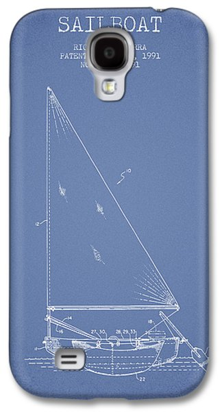 Sailboat Art Galaxy S4 Cases - Sailboat Patent from 1991- Light Blue Galaxy S4 Case by Aged Pixel