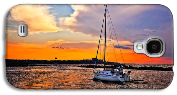Best Sailing Photos Galaxy S4 Cases - Sailing at Sunset Cleveland Harbor Galaxy S4 Case by Marcia Colelli