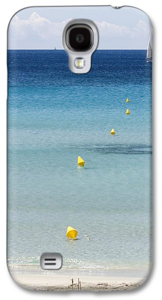 Island Stays Galaxy S4 Cases - Son Bou beach in south coast of Menorca is a turquoise treasure - Sailing in blue Galaxy S4 Case by Pedro Cardona