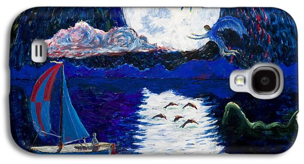 Angel Mermaids Ocean Galaxy S4 Cases - Sailing in the Moonlight Galaxy S4 Case by Walt Brodis