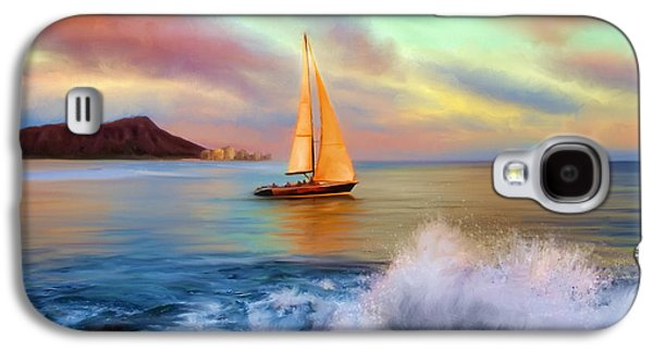 Sailing Ship Galaxy S4 Cases - Sailing Past Waikiki Galaxy S4 Case by Dale Jackson