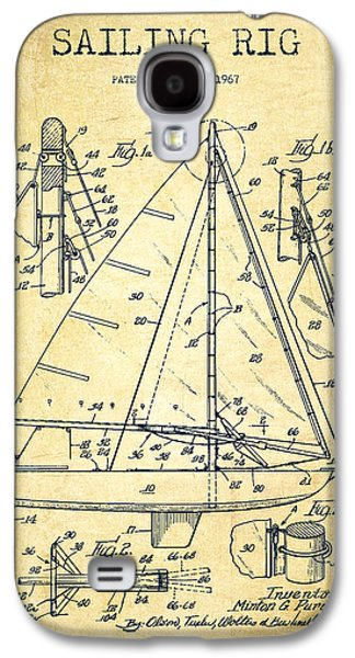 Sailboat Art Galaxy S4 Cases - Sailing Rig Patent Drawing From 1967 - Vintage Galaxy S4 Case by Aged Pixel