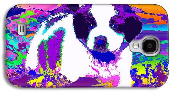 Puppies Digital Art Galaxy S4 Cases - Saint Bernard Puppy Rainbow Galaxy S4 Case by Jacqueline Barden