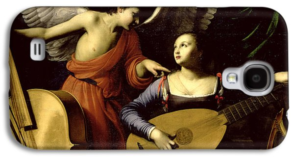 Lute Paintings Galaxy S4 Cases - Saint Cecilia and the Angel Galaxy S4 Case by Carlo Saraceni
