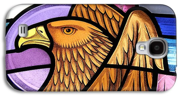 God Glass Art Galaxy S4 Cases - Saint John Eagle  Galaxy S4 Case by Gilroy Stained Glass