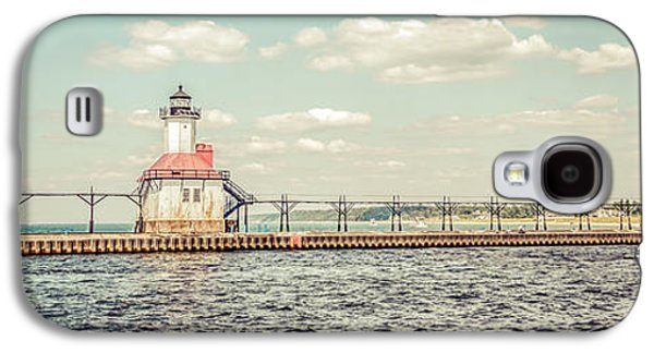 Lake House Galaxy S4 Cases - Saint Joseph Lighthouse Retro Panorama Photo Galaxy S4 Case by Paul Velgos