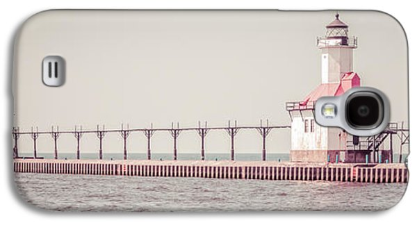 Lake House Galaxy S4 Cases - Saint Joseph Michigan Lighthouse Panorama Picture  Galaxy S4 Case by Paul Velgos