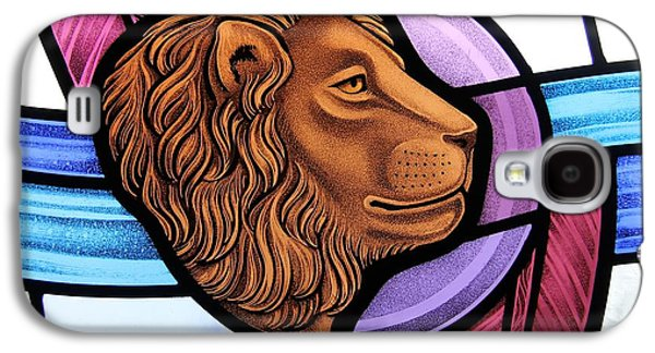 God Glass Art Galaxy S4 Cases - Saint Mark Lion Galaxy S4 Case by Gilroy Stained Glass