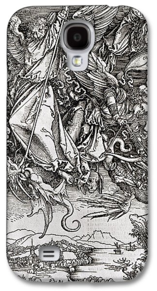 Saints Drawings Galaxy S4 Cases - Saint Michael and the Dragon Galaxy S4 Case by Albrecht Durer or Duerer