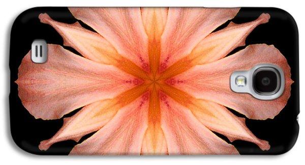 David J Bookbinder Galaxy S4 Cases - Salmon Daylily I Flower Mandala Galaxy S4 Case by David J Bookbinder