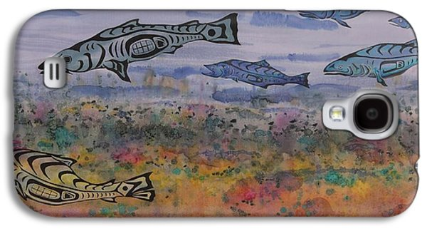 Animals Tapestries - Textiles Galaxy S4 Cases - Salmon in the Stream Galaxy S4 Case by Carolyn Doe
