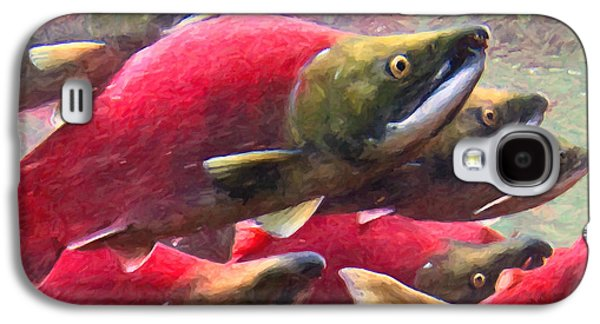 Schools Of Fish Galaxy S4 Cases - Salmon Run - Painterly Galaxy S4 Case by Wingsdomain Art and Photography