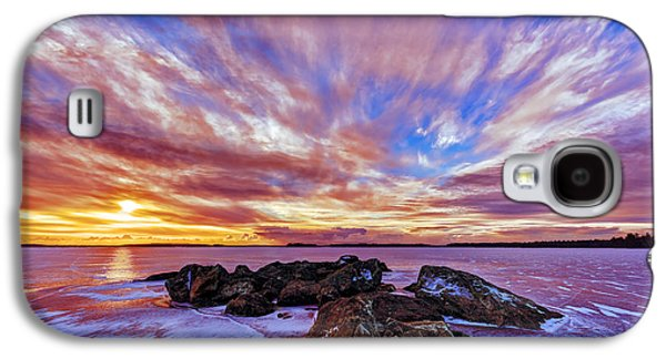 Maine Winter Galaxy S4 Cases - Salmon Sunrise Galaxy S4 Case by Bill Caldwell -        ABeautifulSky Photography