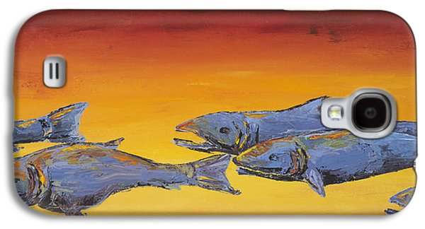 Salmon Paintings Galaxy S4 Cases - Salmon Sunrise Galaxy S4 Case by Carolyn Doe