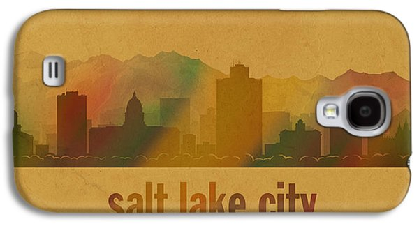 Parchment Galaxy S4 Cases - Salt Lake City Utah City Skyline Watercolor On Parchment Galaxy S4 Case by Design Turnpike