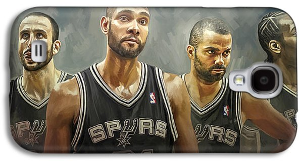 Print Mixed Media Galaxy S4 Cases - San Antonio Spurs Artwork Galaxy S4 Case by Sheraz A