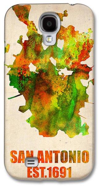 Atlas Galaxy S4 Cases - San Antonio Watercolor Map Galaxy S4 Case by Naxart Studio