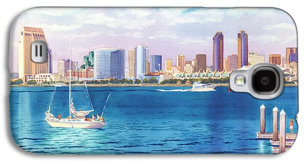 Docked Boat Galaxy S4 Cases - San Diego Skyline and Convention Ctr Galaxy S4 Case by Mary Helmreich