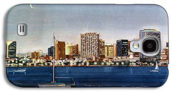 City Scene Galaxy S4 Cases - San Diego Skyline at Dusk Galaxy S4 Case by Mary Helmreich