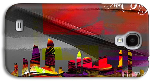 California Galaxy S4 Cases - San Diego Skyline Watercolor Galaxy S4 Case by Marvin Blaine