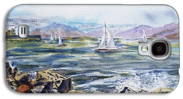 Boats In Water Paintings Galaxy S4 Cases - San Francisco Bay from Richmond Shore Line Galaxy S4 Case by Irina Sztukowski