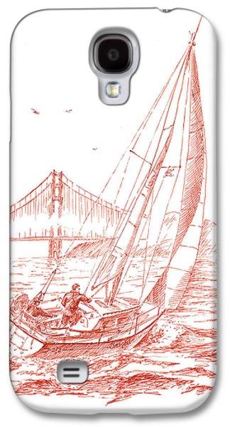 Ink Drawing Drawings Galaxy S4 Cases - San Francisco Bay Sailing To Golden Gate Bridge Galaxy S4 Case by Irina Sztukowski
