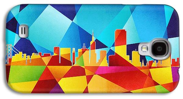 Abstract Geometric Galaxy S4 Cases - San Francisco California Skyline Galaxy S4 Case by Michael Tompsett