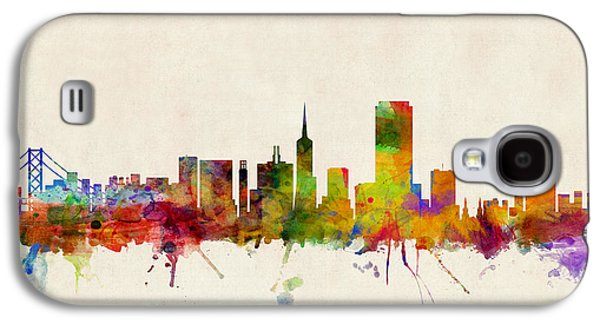 City Digital Art Galaxy S4 Cases - San Francisco City Skyline Galaxy S4 Case by Michael Tompsett