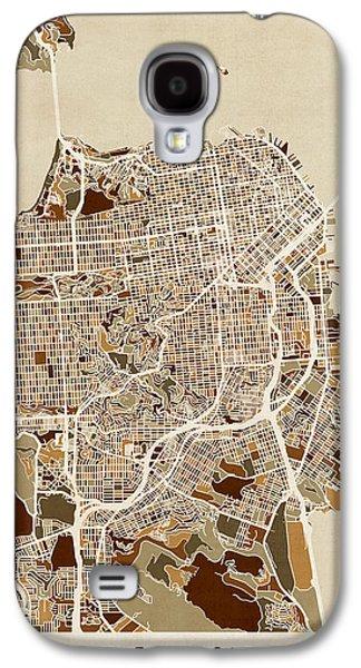 Map Galaxy S4 Cases - San Francisco City Street Map Galaxy S4 Case by Michael Tompsett
