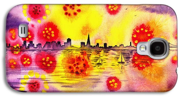 Fireworks Paintings Galaxy S4 Cases - San Francisco Fireworks Flowers Galaxy S4 Case by Irina Sztukowski