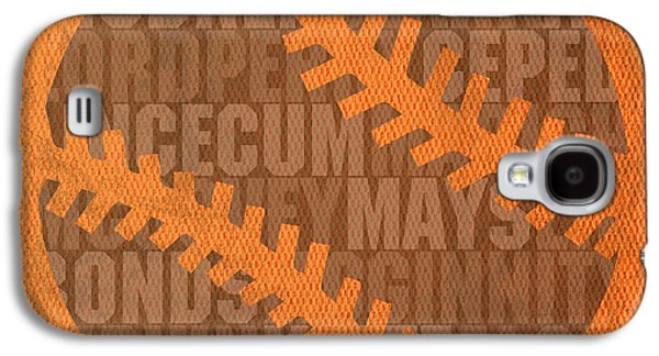 San Francisco Giants Baseball Typography Famous Player Names On Canvas Galaxy S4 Case by Design Turnpike