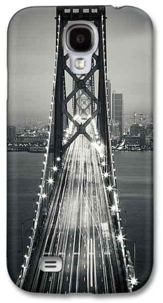 Downtown San Francisco Galaxy S4 Cases - San Francisco - Oakland Bay Bridge BW Galaxy S4 Case by Adam Romanowicz